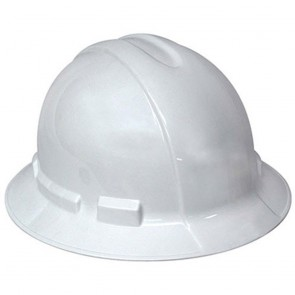3M Hard Hat, Full Brim, White Ratcheting Head Band